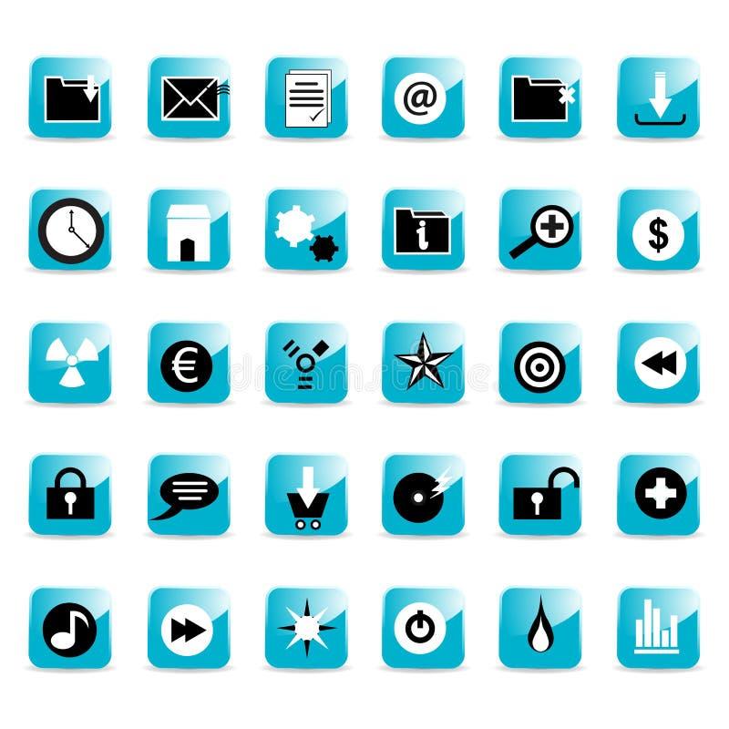 Teclas lustrosas do ícone do Web ilustração do vetor