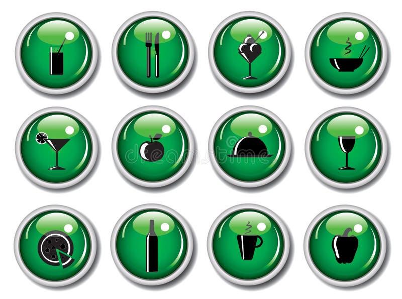 Teclas lustrosas do Web - ícones do alimento ilustração royalty free