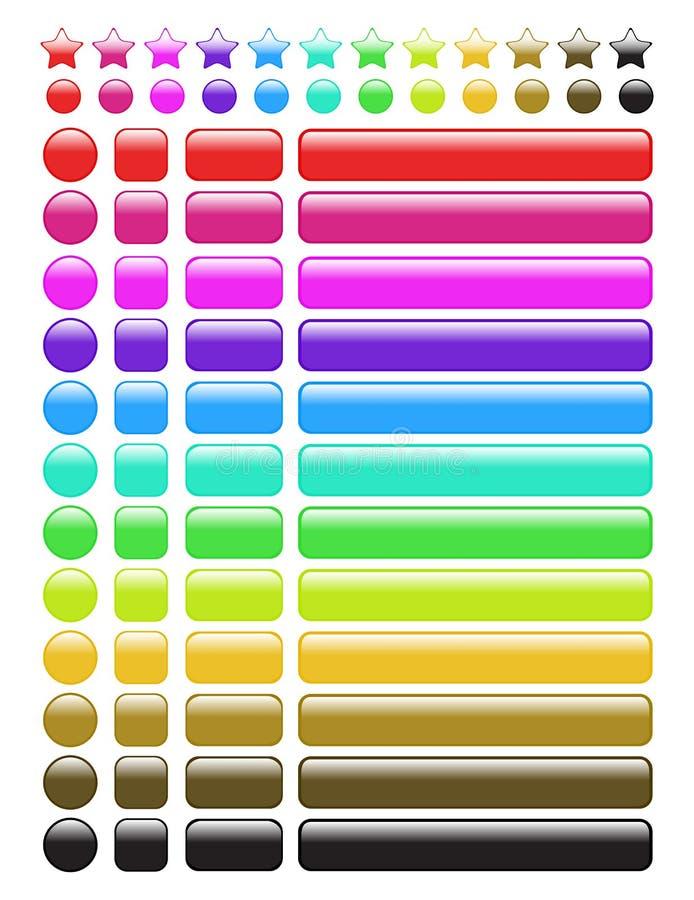 teclas lustrosas do Web do arco-íris ilustração stock