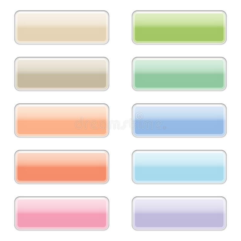 Teclas lustrosas do Web em cores pastel ilustração do vetor