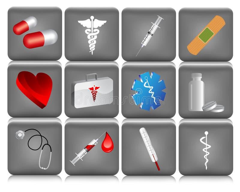 Teclas médicas ilustração royalty free