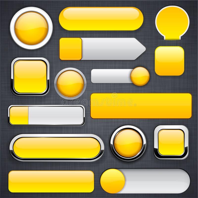 Teclas modernas elevado-detalhadas amarelas. ilustração do vetor