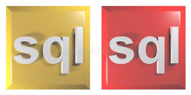 Teclas para o sql: a linguagem de programação famosa para controlar o banco de dados - ilustração da rendição 3D ilustração do vetor