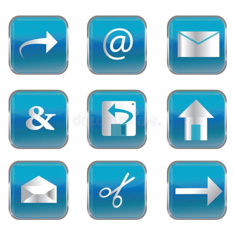 Teclas quadradas azuis com ícones do PC ilustração do vetor
