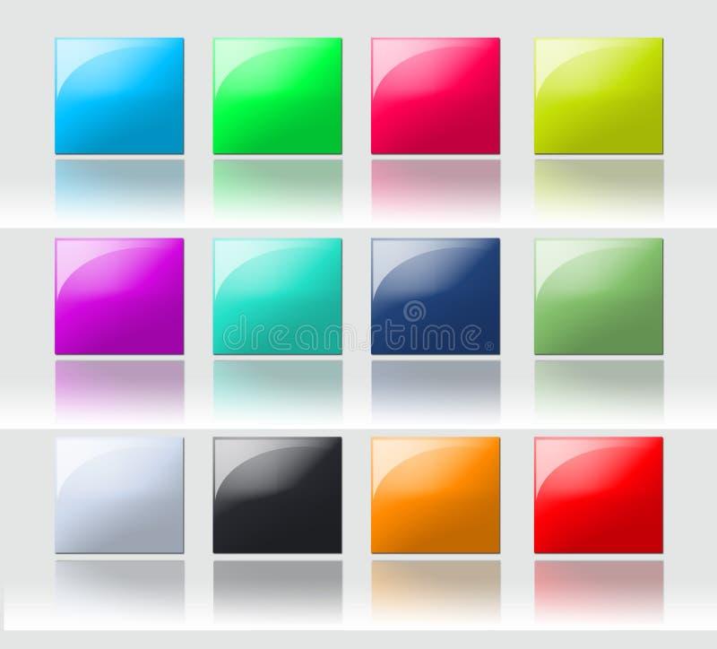 Teclas quadradas coloridas ilustração stock