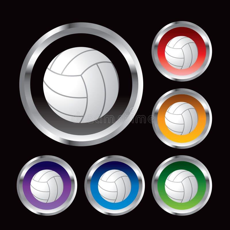 Teclas redondas coloridos do Web do voleibol ilustração stock