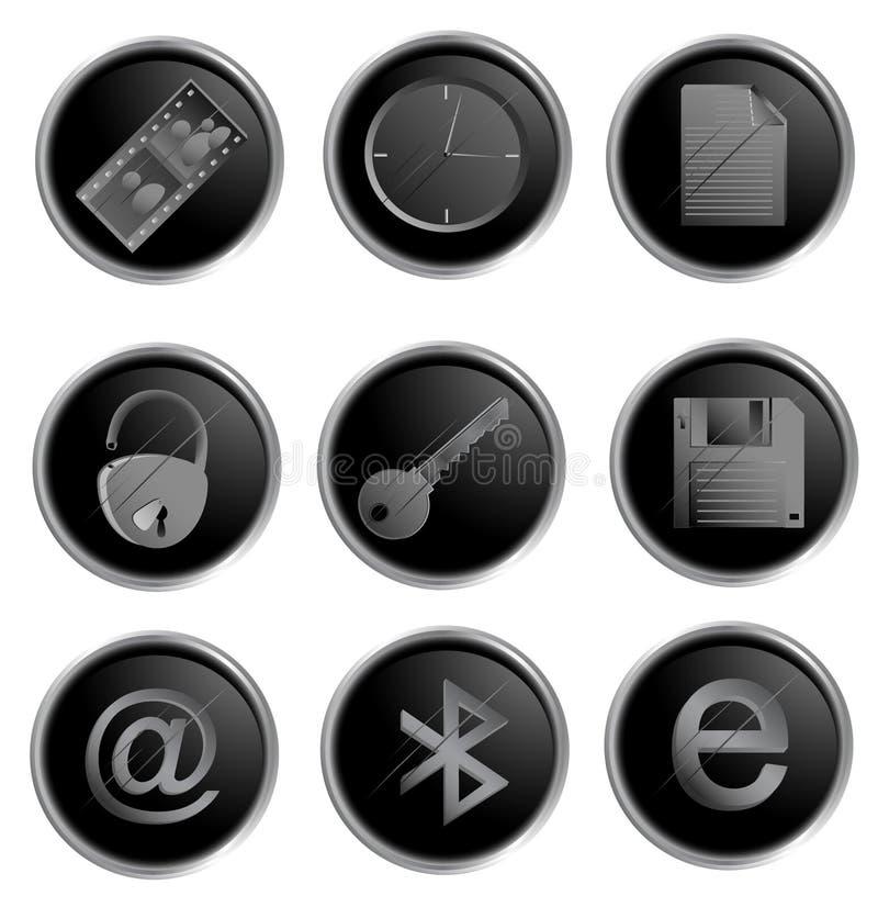 Teclas redondas pretas do Web do vetor ilustração do vetor