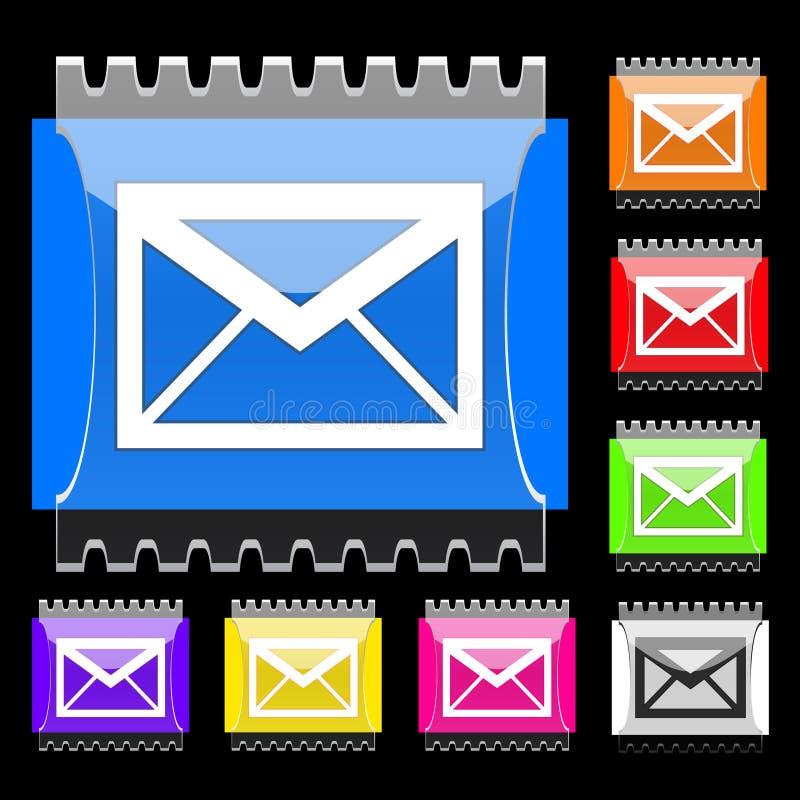 Teclas retangulares do email ilustração stock
