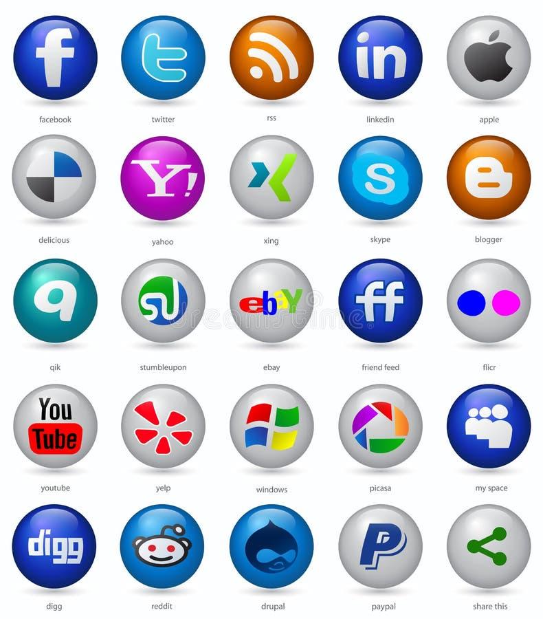Teclas sociais dos media ajustadas ilustração royalty free