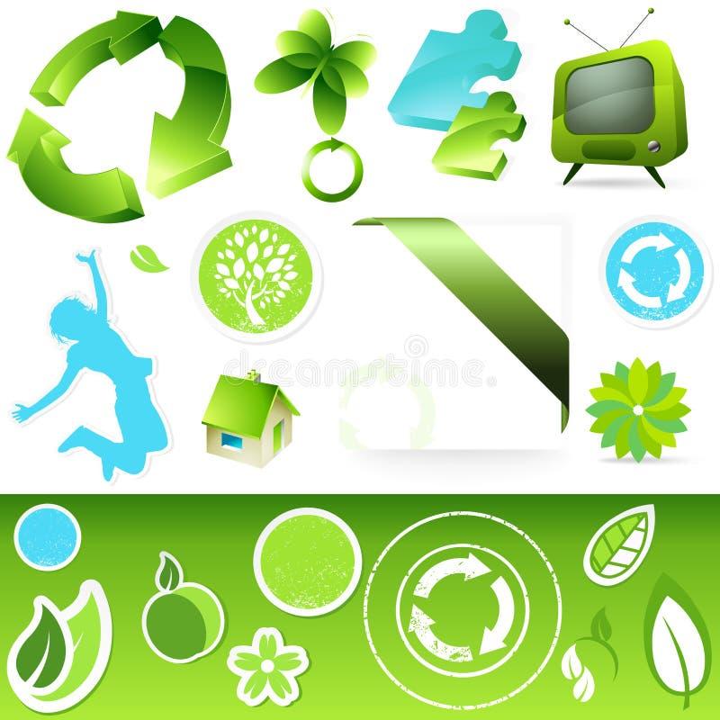 Teclas verdes do ícone ilustração stock