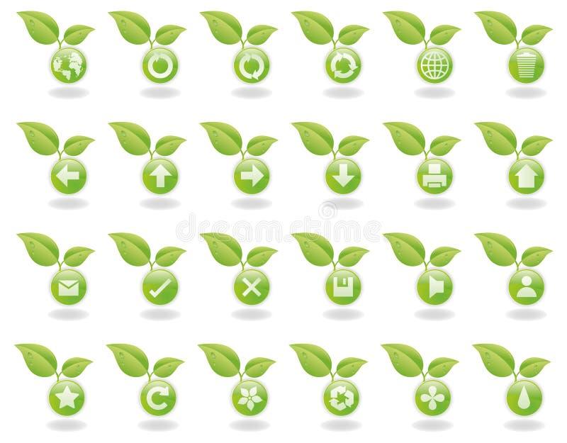 Teclas verdes do Web da natureza ilustração royalty free