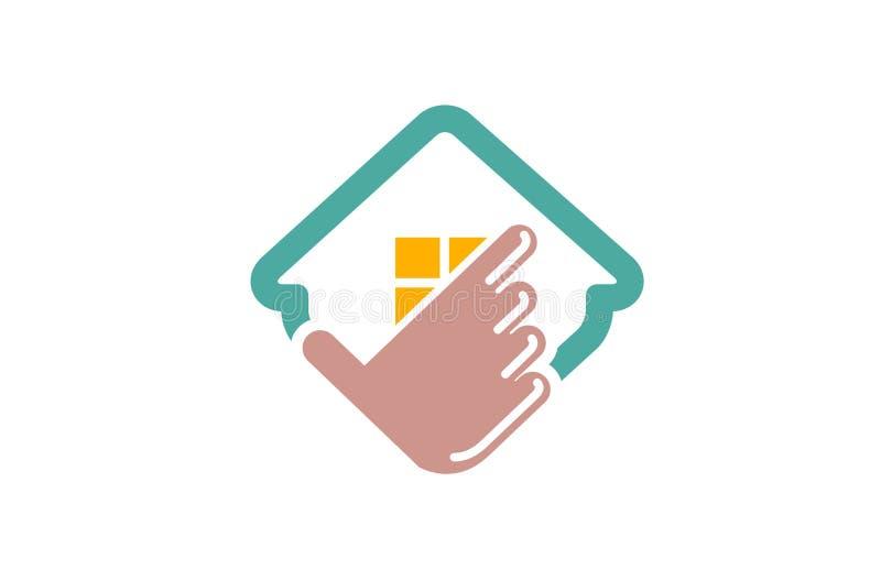 Tecleo Logo Design Illustration de la mano de la casa del seguro ilustración del vector
