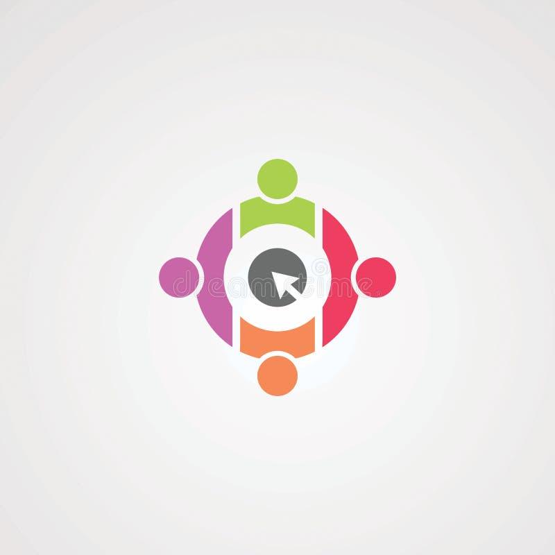 Tecleo social con vector, el icono, el elemento, y la plantilla a todo color del logotipo del círculo para la compañía stock de ilustración