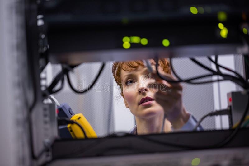 Tecnico che usando l'analizzatore digitale del cavo sul server immagine stock libera da diritti