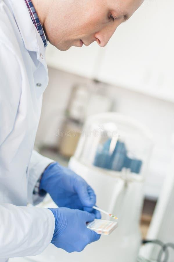 Tecnico di laboratorio che lavora con la carta reagente delle strisce test immagine stock