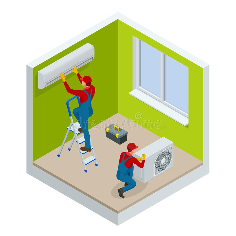 Tecnico isometrico che ripara condizionatore d'aria spaccato su una parete bianca Edilizia della costruzione, nuova casa illustrazione di stock