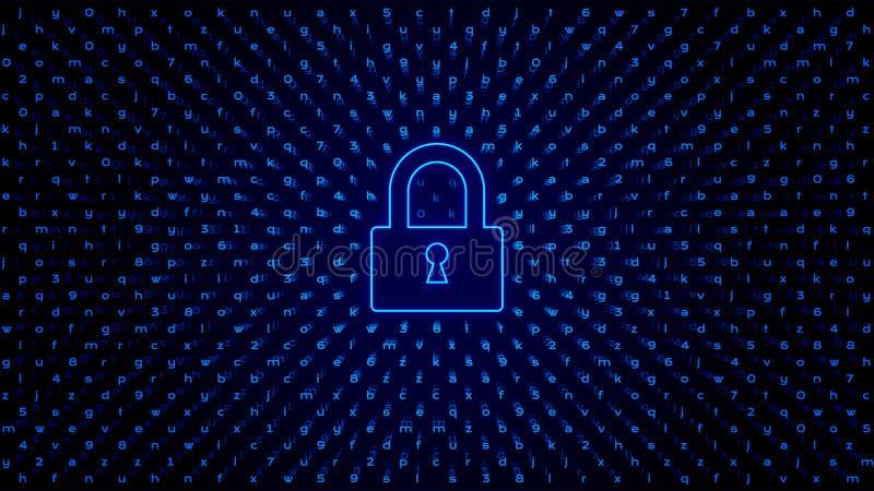 Tecnología abstracta BG con la cerradura Protección del acceso stock de ilustración