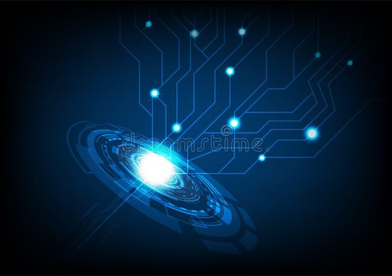 Tecnología abstracta con el anillo digital del circuito de la chispa del relámpago ilustración del vector
