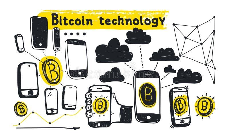 Tecnología abstracta del bitcoin del ejemplo del vector libre illustration