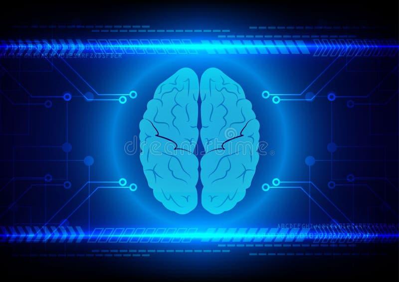 Tecnología abstracta del cerebro con el circuito y el fondo de la flecha ilustración del vector