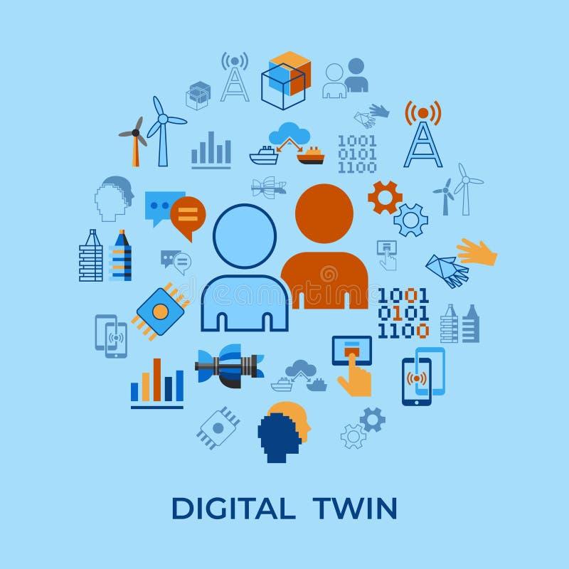 Tecnología auxiliar del tween digital del vector de Digitaces ilustración del vector