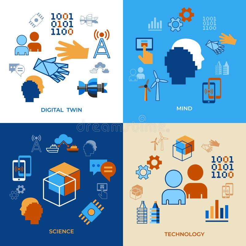 Tecnología auxiliar del tween digital del vector de Digitaces libre illustration