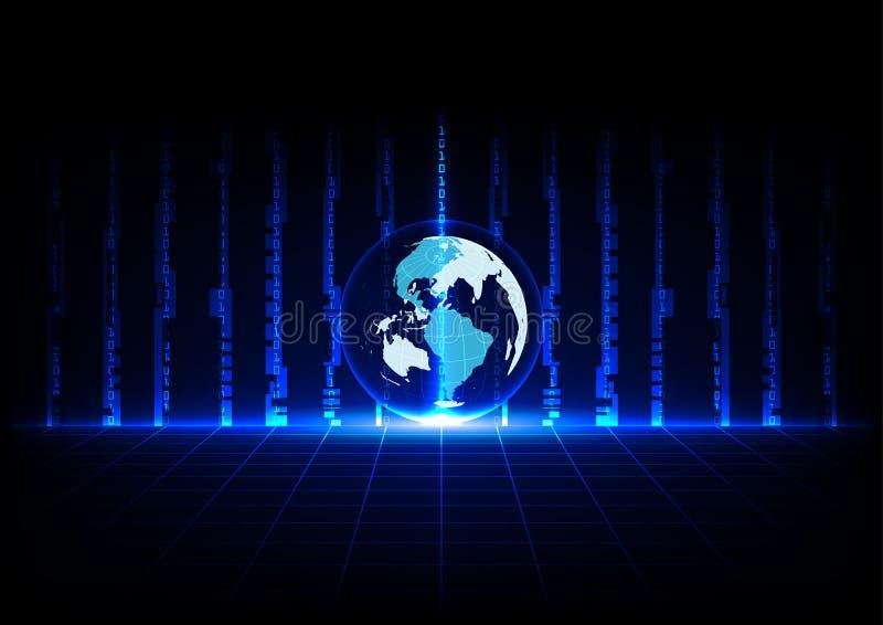 Tecnología azul abstracta y mundo del concepto con perspectiva de las rejillas ilustración del vector