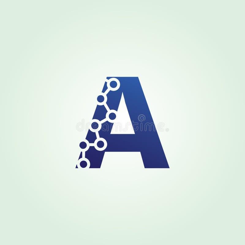 Tecnología azul de los datos un logotipo de la letra stock de ilustración