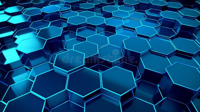 Tecnología azul del fondo del panal stock de ilustración