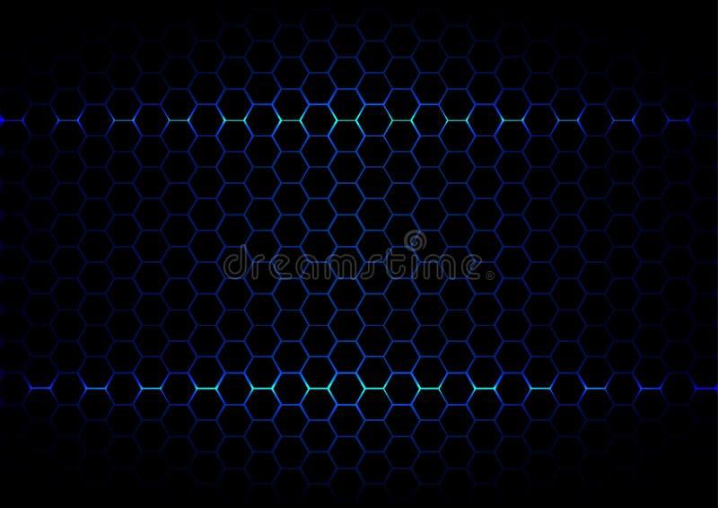Tecnología azul del ligth del hexágono abstracto en backgroun negro del color ilustración del vector
