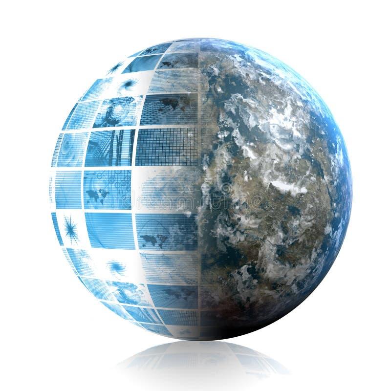 Tecnología azul del mundo ilustración del vector