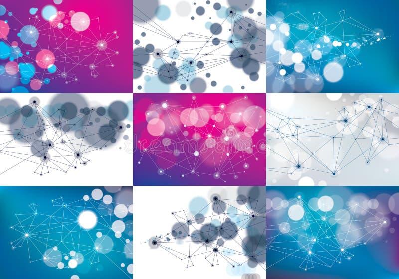 Tecnología caótica a de la malla de la comunicación de la conexión 3d del minimalismo ilustración del vector