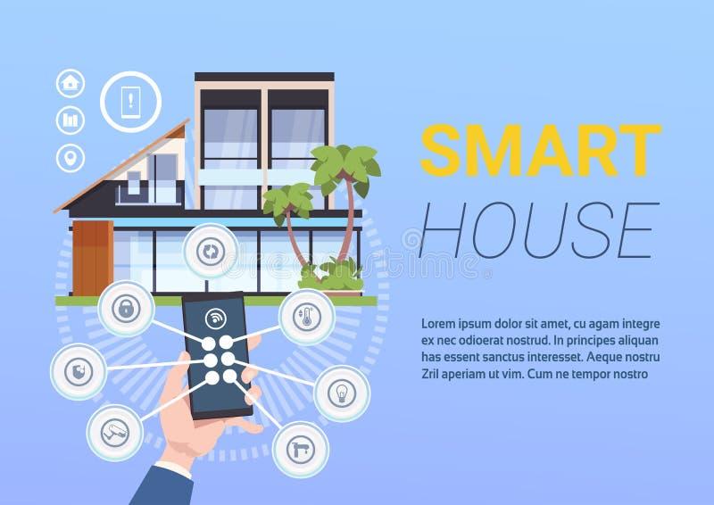 Tecnología casera elegante del control y de la administración con las manos que sostienen Smartphone stock de ilustración