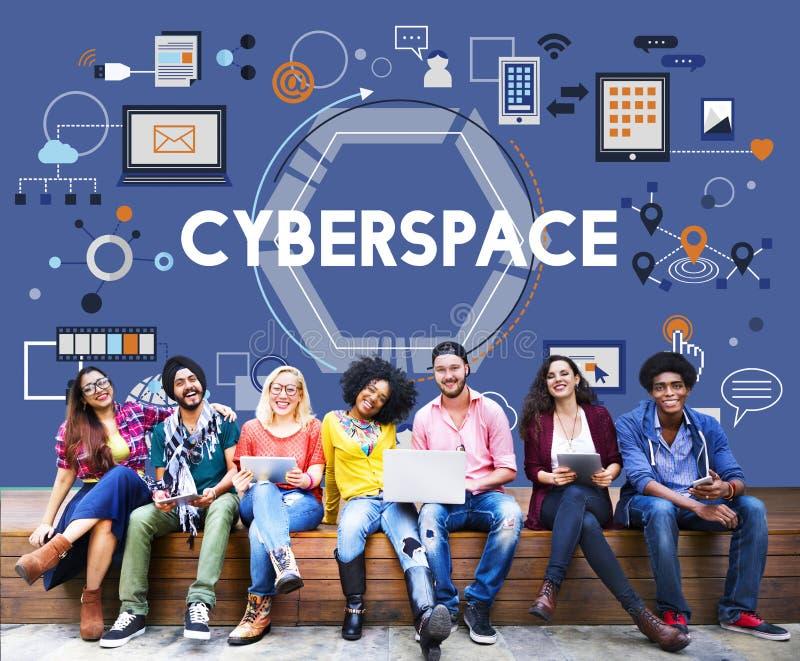 Tecnología Concep del establecimiento de una red de la conexión de la globalización del ciberespacio imagenes de archivo