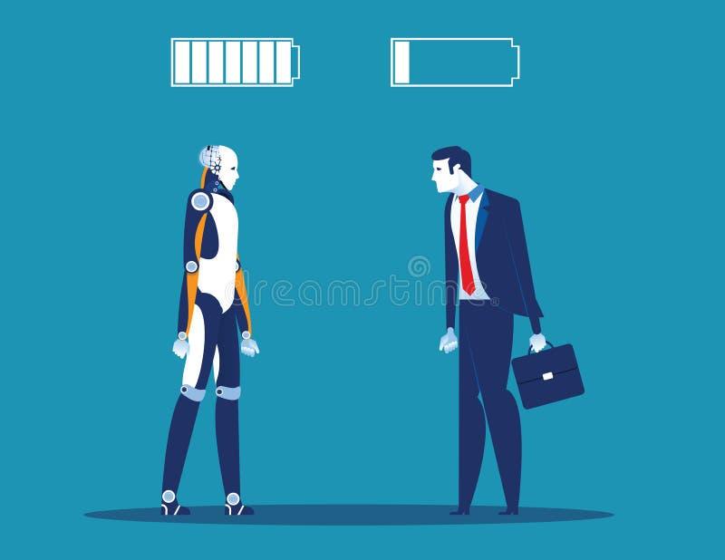 Tecnología contra humano Hombre de negocios con la muestra de la batería Ejemplo del vector del negocio del concepto ilustración del vector