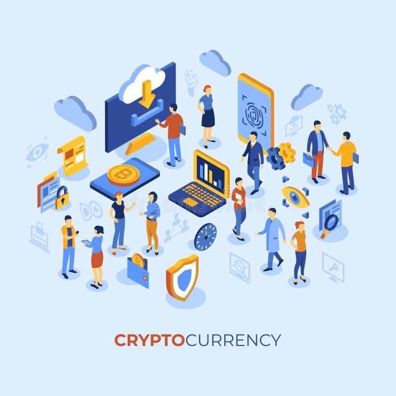 Tecnología Crypto del bitcoin de la moneda stock de ilustración