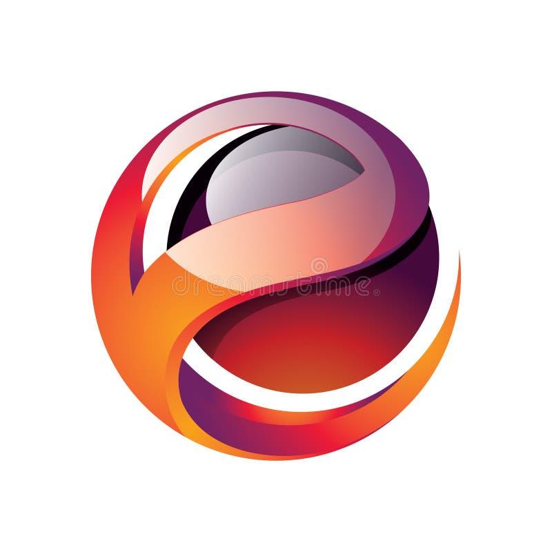 Tecnología 3D rojo Logo Icon del extracto de la esfera de la bola de la letra de E libre illustration