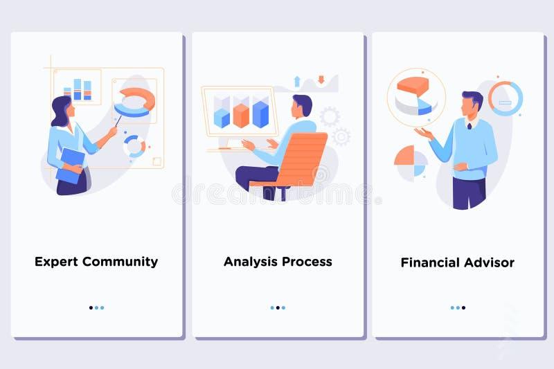 Tecnología de almacenamiento computacional, base de datos grande, análisis de datos, concepto de la información digital Interfaz  stock de ilustración