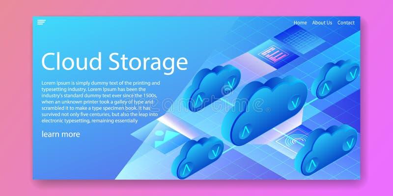 Tecnología de almacenamiento de la nube, concepto isométrico computacional del centro de datos Dise?o de la plantilla de la web I foto de archivo