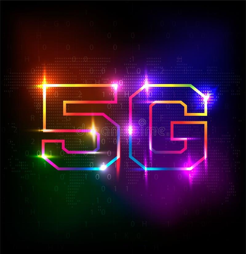 tecnología de alta velocidad de la tarifa de datos de conexión de la innovación de la red global 5G stock de ilustración