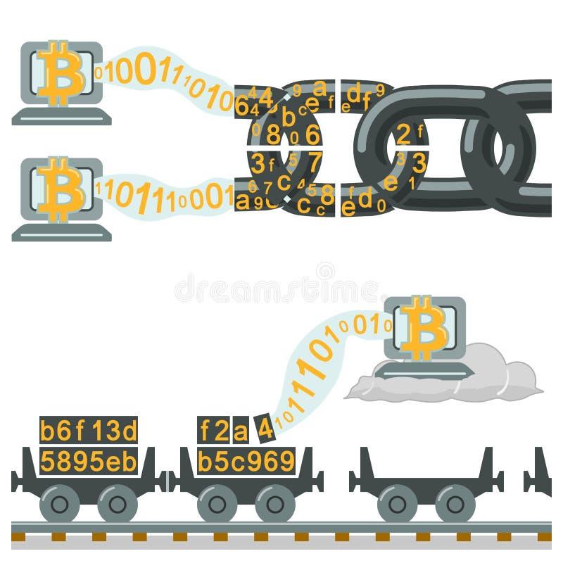 Tecnología de Blockchain como carros de cadena o ferroviarios stock de ilustración