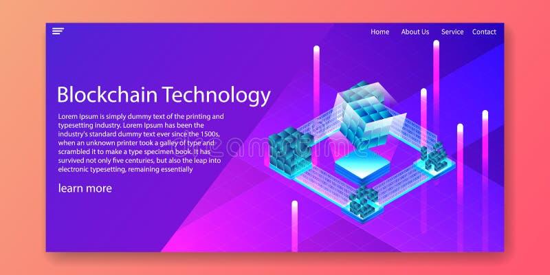 Tecnología de Blockchain, concepto isométrico de la encripción de datos de Digitaces Dise?o de la plantilla de la web Ilustraci?n imágenes de archivo libres de regalías