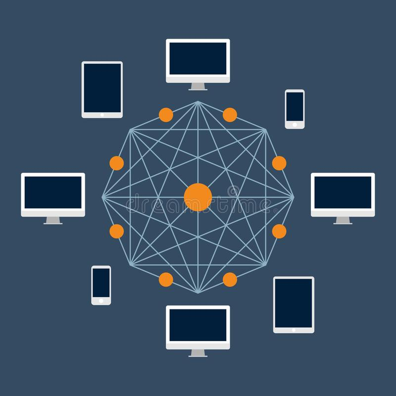 Tecnología de Blockchain Cryptocurrency y transferencia monetaria a partir de un usuario a otro y a la validación de la red imágenes de archivo libres de regalías