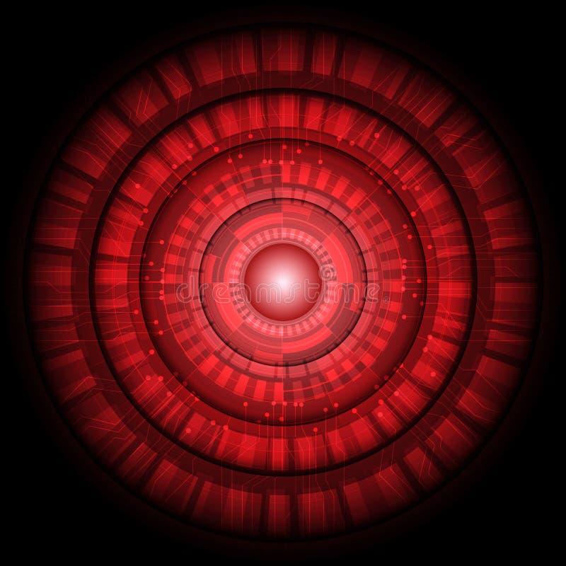 Tecnología de circuito ligero roja abstracta del círculo futurista en vector negro stock de ilustración