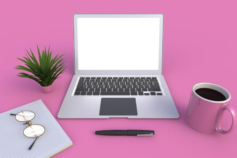 Tecnología de Digitaces de la conexión de la red de ordenadores, taza de café con el cuaderno en fondo rosado de la tabla libre illustration