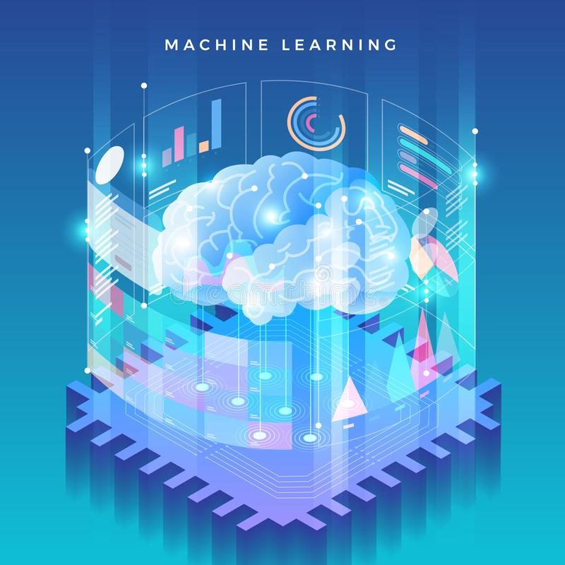 Tecnología de enseñanza de máquina ilustración del vector