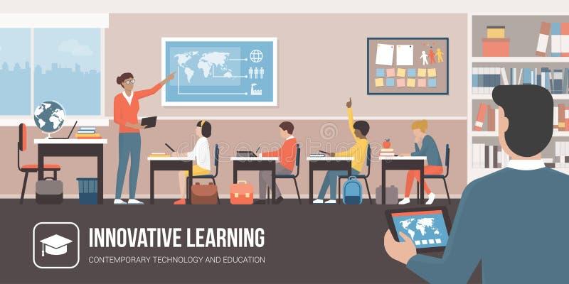 Tecnología de Innovtive en la sala de clase ilustración del vector