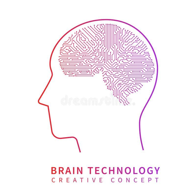 Tecnología de inteligencia artificial futura Concepto creativo del vector de la idea del cerebro mecánico libre illustration