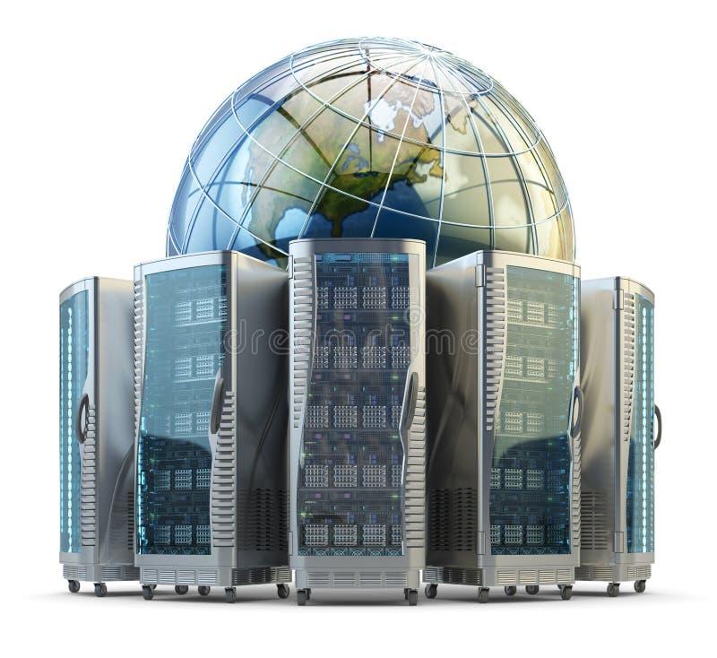 Tecnología de Internet y de la red de ordenadores, concepto global del almacenamiento de datos stock de ilustración