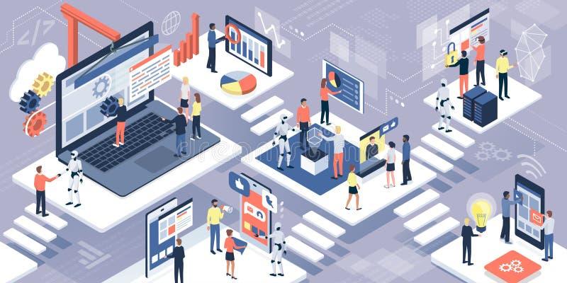 Tecnología de la información, comunicación y AI ilustración del vector